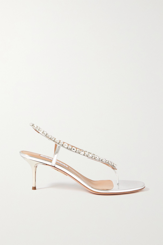 Aquazzura Divina 60 Slingback-Sandalen aus Metallic-Leder mit Kristallen
