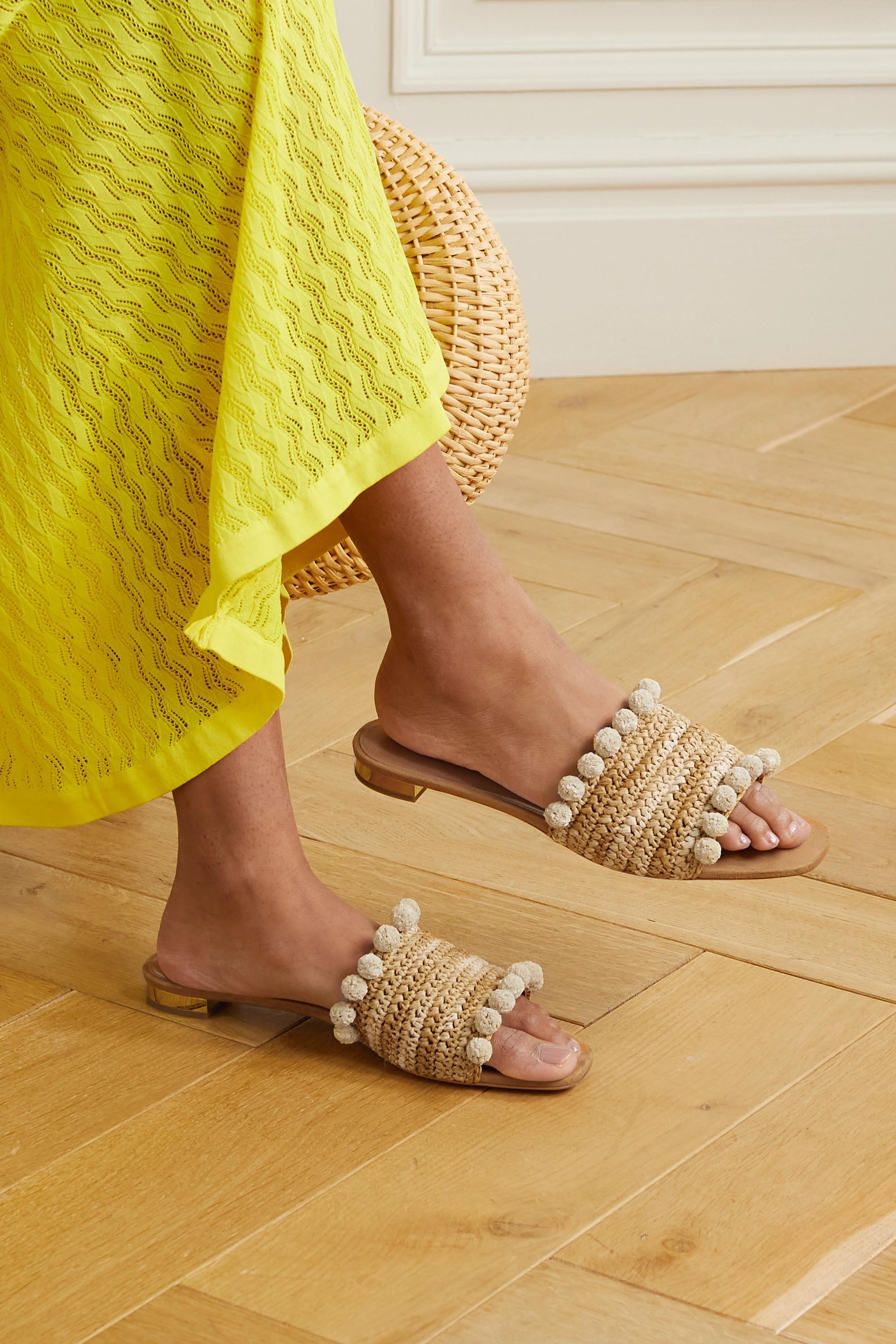 Aquazzura Pompom-embellished woven raffia slides