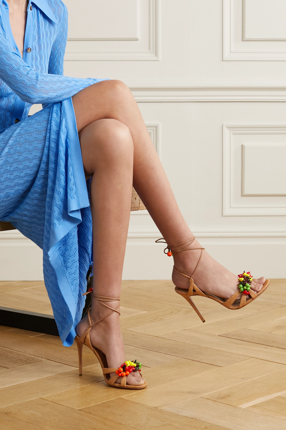 Aquazzura Tutti Frutti 105 embellished raffia and leather sandals