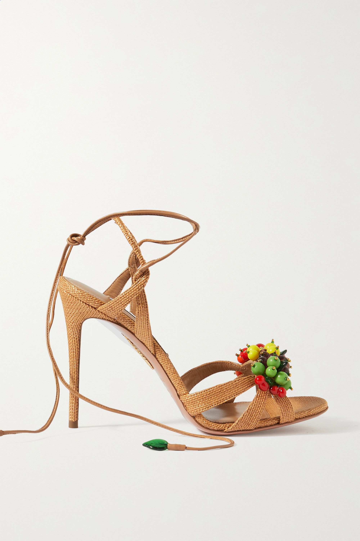 Aquazzura Tutti Frutti 105 embellished raffia and leather sandals