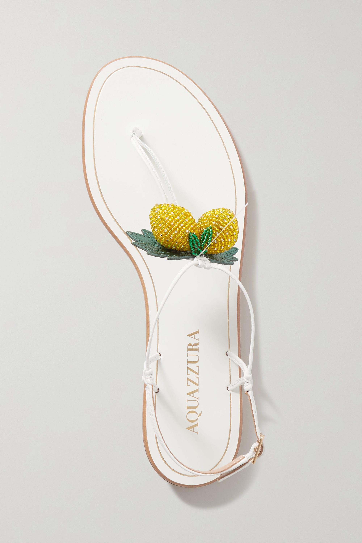 Aquazzura Sandales en cuir à perles Limoncello