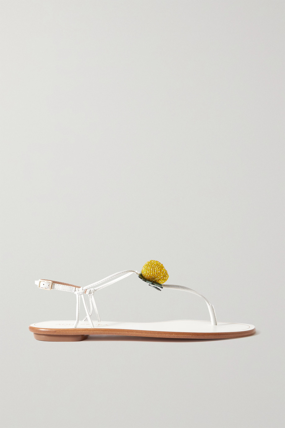 Aquazzura Limoncello bead-embellished leather sandals