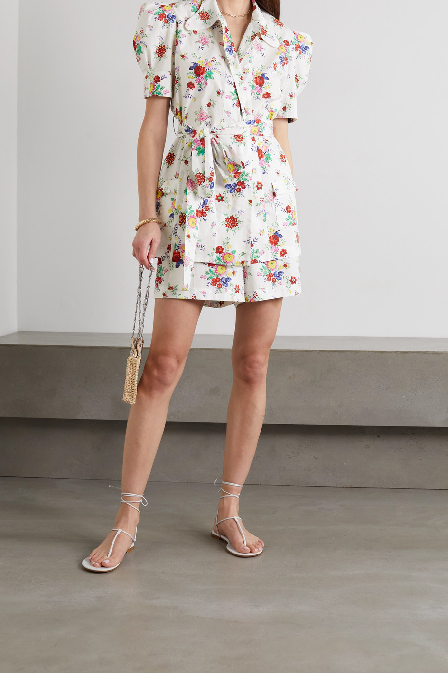 The Vampire's Wife Belted floral-print cotton-poplin blouse