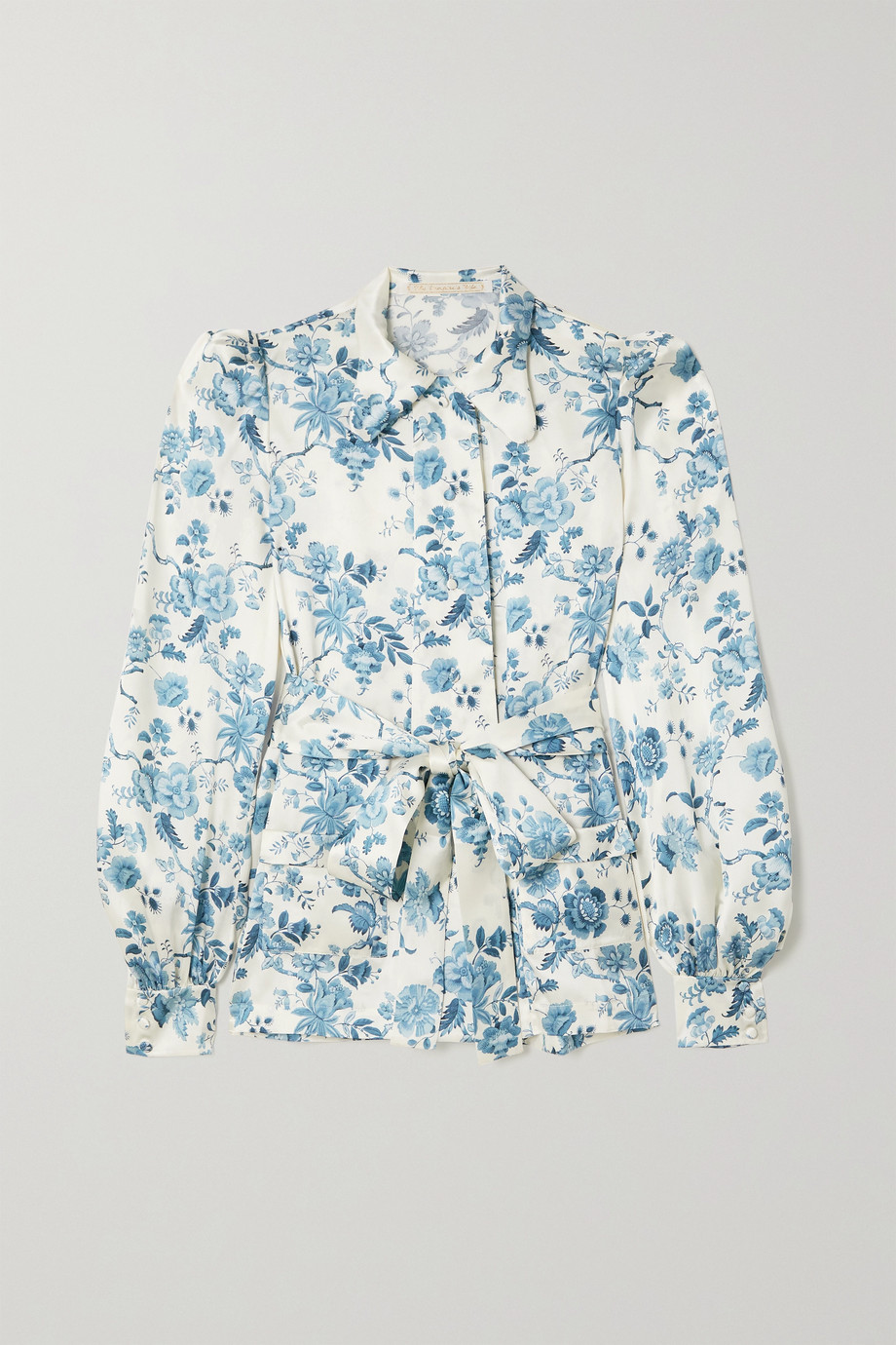 The Vampire's Wife The Jannah belted floral-print silk-satin blouse
