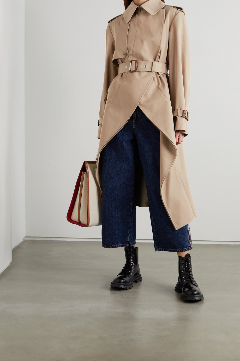 Alexander McQueen Asymmetric cotton-gabardine trench coat