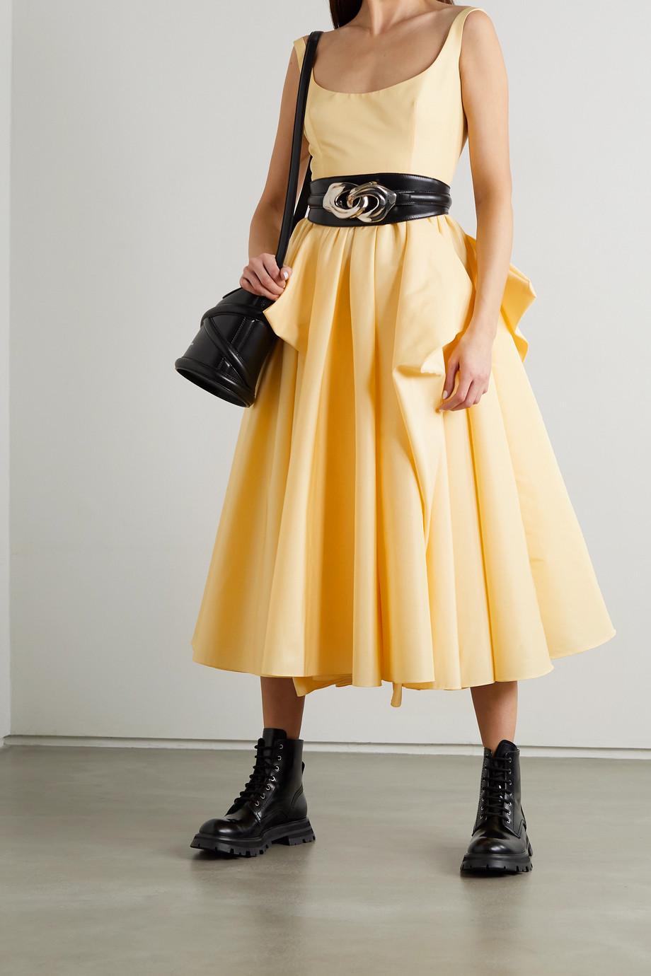 Alexander McQueen Draped cotton-faille midi dress