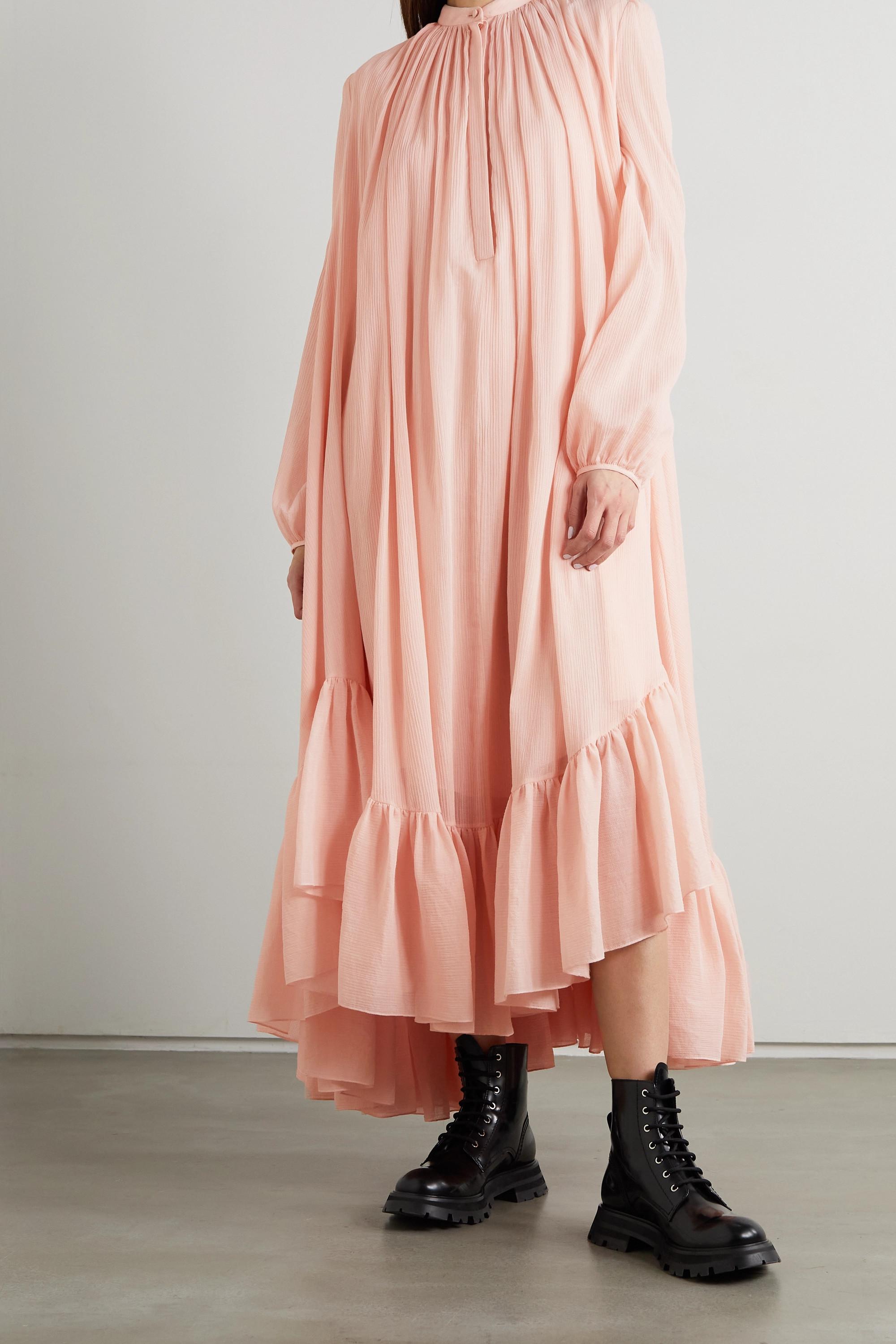 Alexander McQueen Asymmetrisches Kleid aus Krepon aus einer Baumwoll-Seidenmischung mit Raffungen
