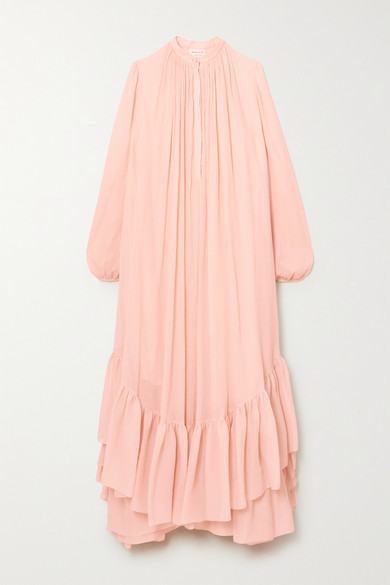 Alexander Mcqueen ASYMMETRIC RUFFLED COTTON AND SILK-BLEND CREPON DRESS