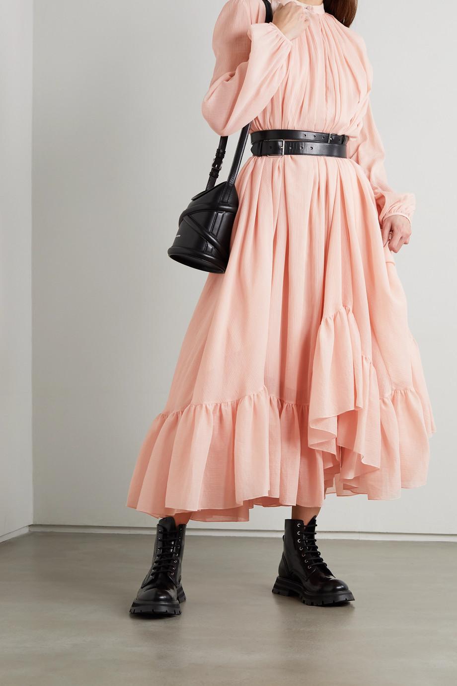 Alexander McQueen Asymmetric ruffled cotton and silk-blend crepon dress
