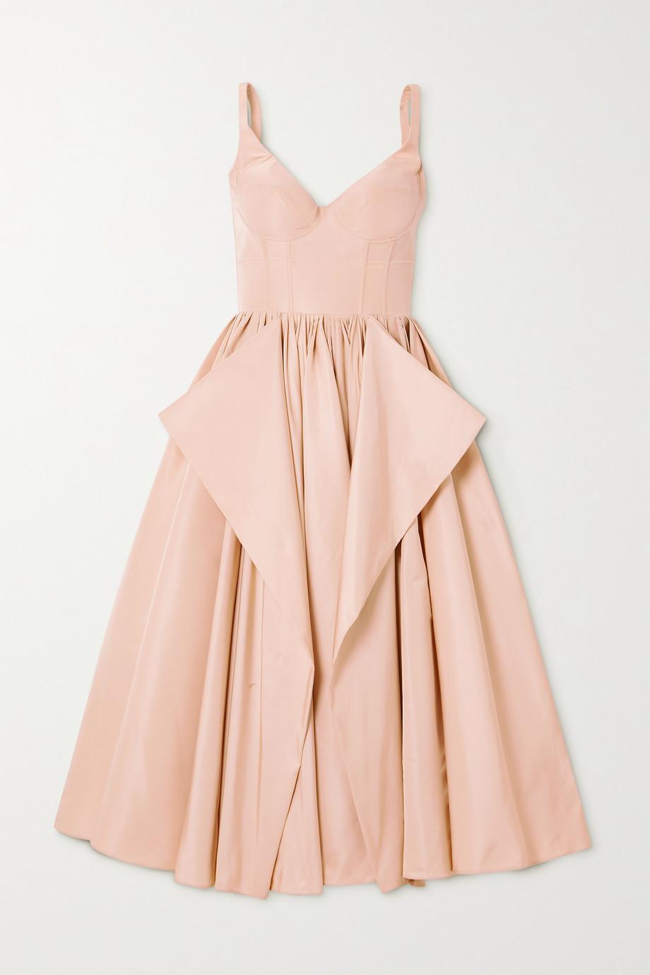Alexander McQueen Draped paneled faille midi dress