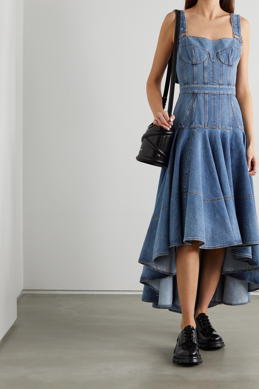 Alexander McQueen Asymmetrisches Midi-Jeanskleid