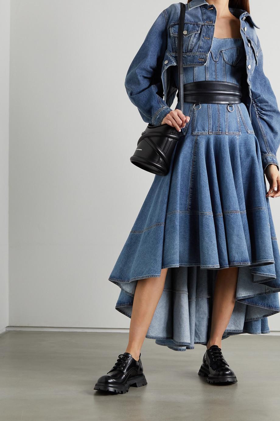 Alexander McQueen Robe midi asymétrique en jean