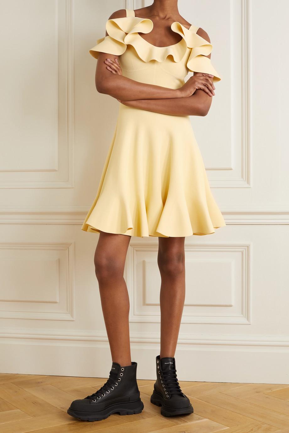 Alexander McQueen Cold-shoulder ruffled stretch-knit mini dress