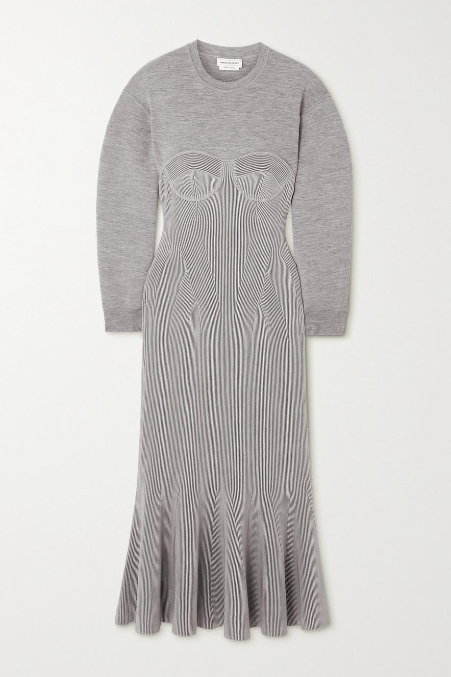 Alexander McQueen Pleated paneled mélange wool-blend midi dress