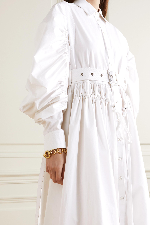 Alexander McQueen Midi-Hemdblusenkleid aus Baumwollpopeline mit Gürtel