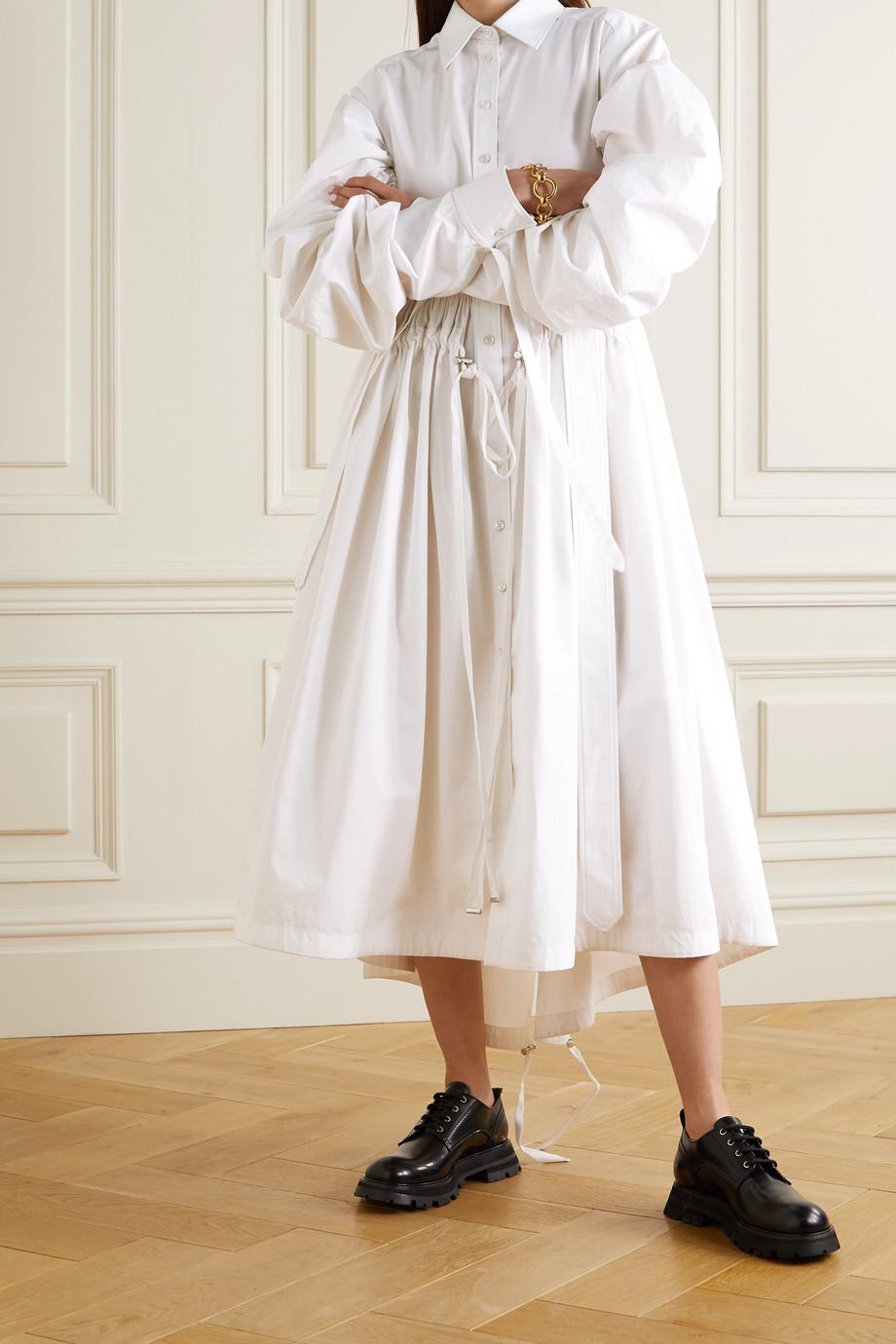 Alexander McQueen Belted cotton-poplin midi shirt dress