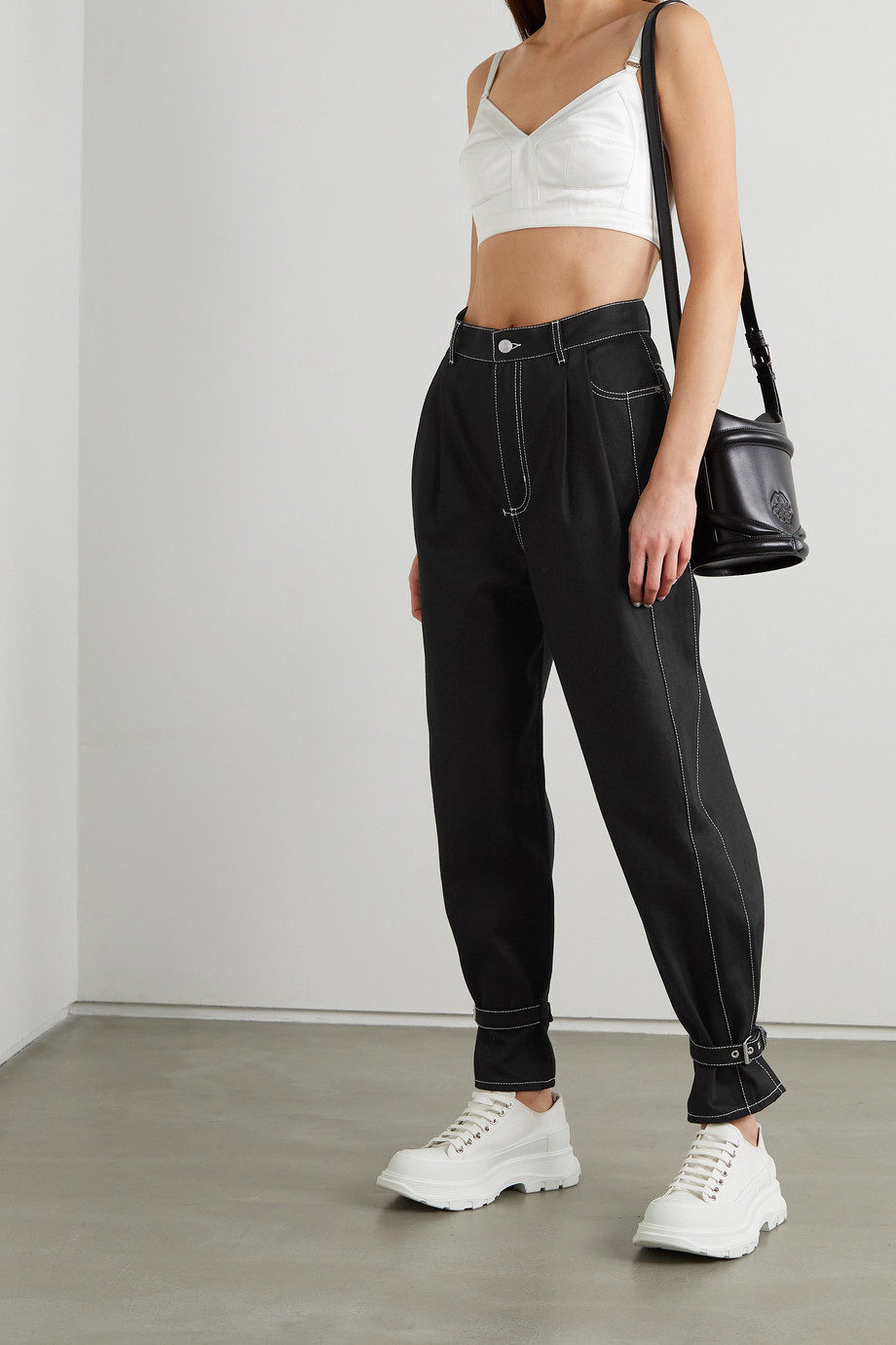 Alexander McQueen Topstitched high-rise tapered jeans