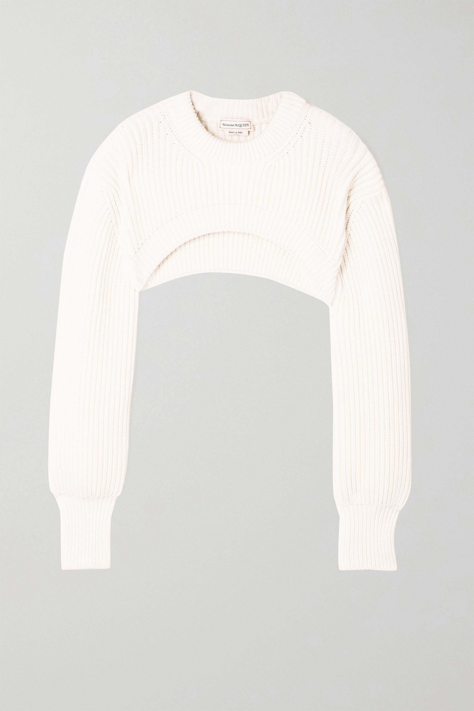 Alexander McQueen Verkürzter Pullover aus gerippter Baumwolle