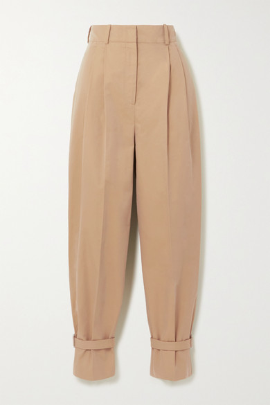 Alexander Mcqueen Cottons BUCKLED COTTON-TWILL TAPERED PANTS