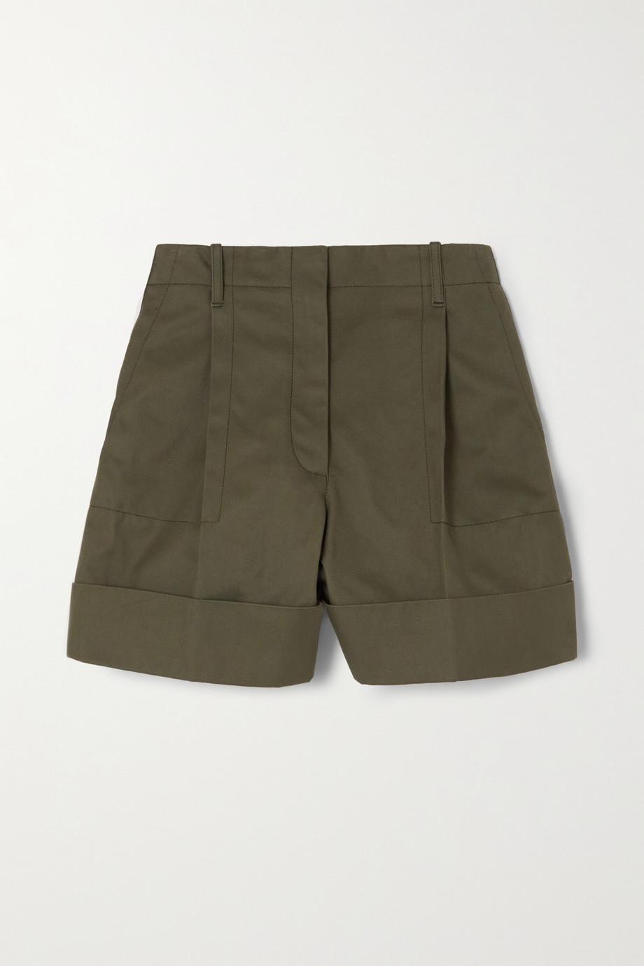 Alexander McQueen Pleated cotton-drill shorts