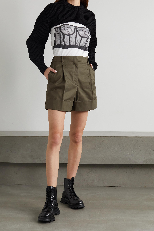 Alexander McQueen Shorts aus Baumwolldrillich mit Falten