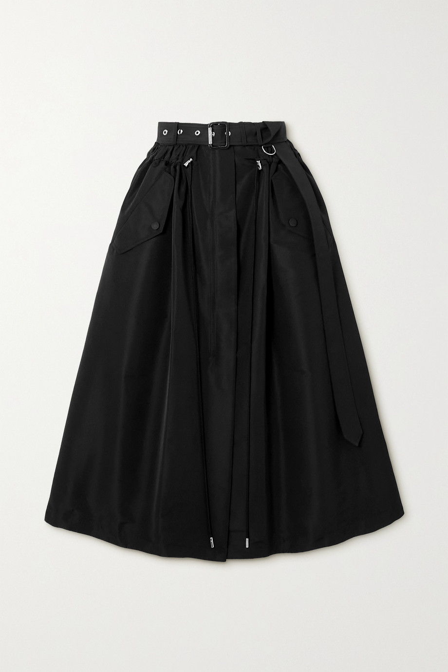 Alexander McQueen Belted faille midi skirt
