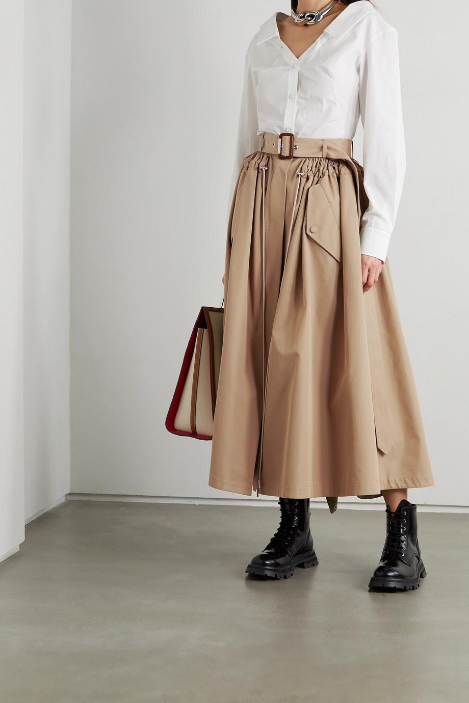Alexander McQueen Belted cotton-gabardine midi skirt