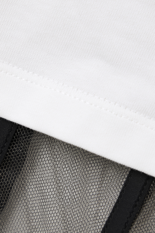 Alexander McQueen Verkürztes, mehrlagiges T-Shirt aus Baumwoll-Jersey und Tüll