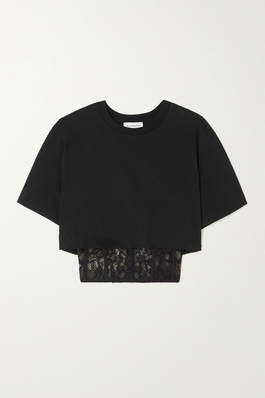 Alexander McQueen Mehrlagiges, verkürztes T-Shirt aus Baumwoll-Jersey und besticktem Tüll
