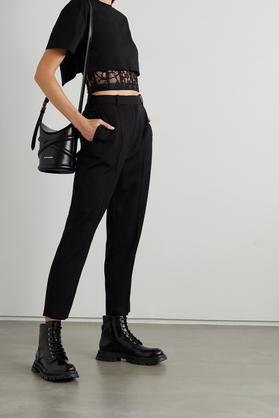 Alexander McQueen Cropped layered cotton-jersey and embroidered tulle T-shirt
