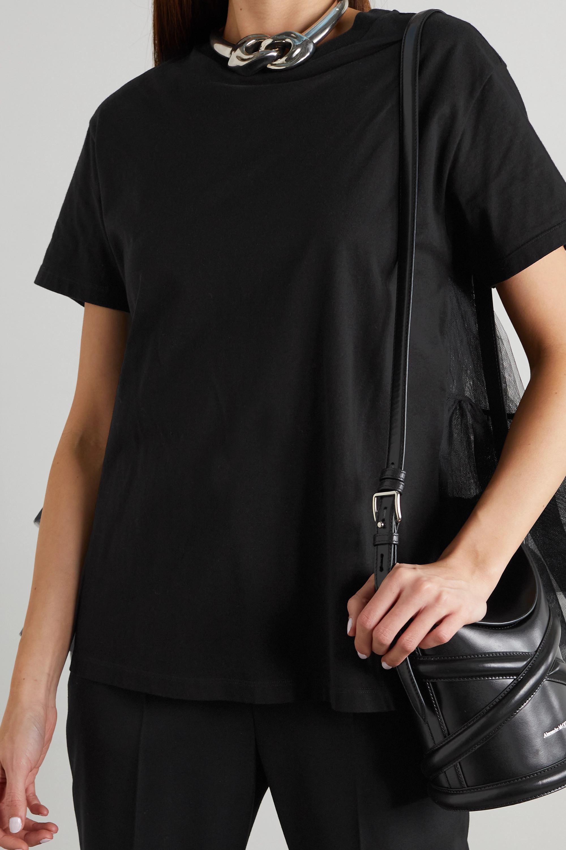 Alexander McQueen T-Shirt aus Baumwoll-Jersey und Tüll mit Rüschen