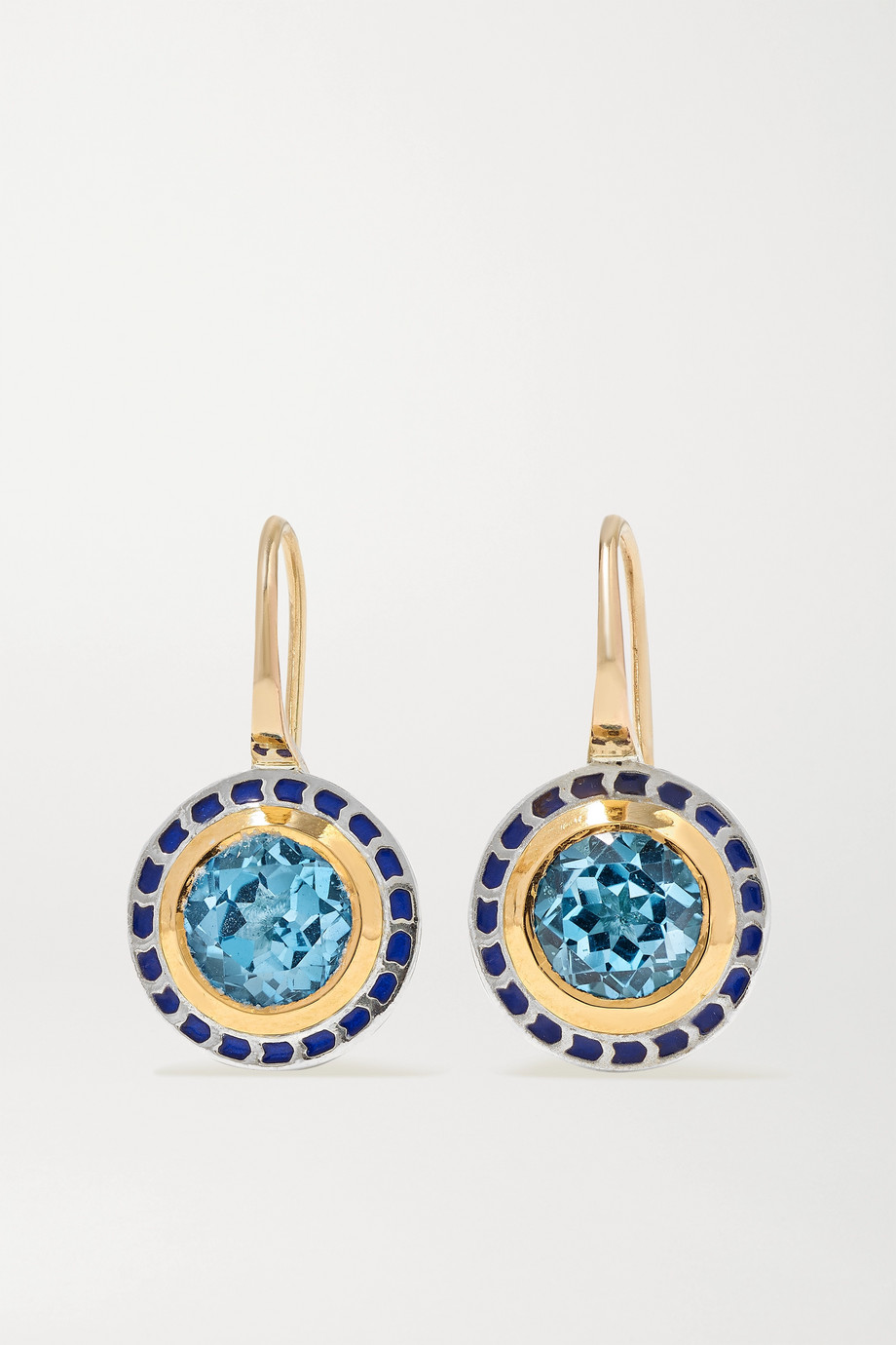Alice Cicolini Tile Mini sterling silver, 22-karat gold, enamel and topaz earrings