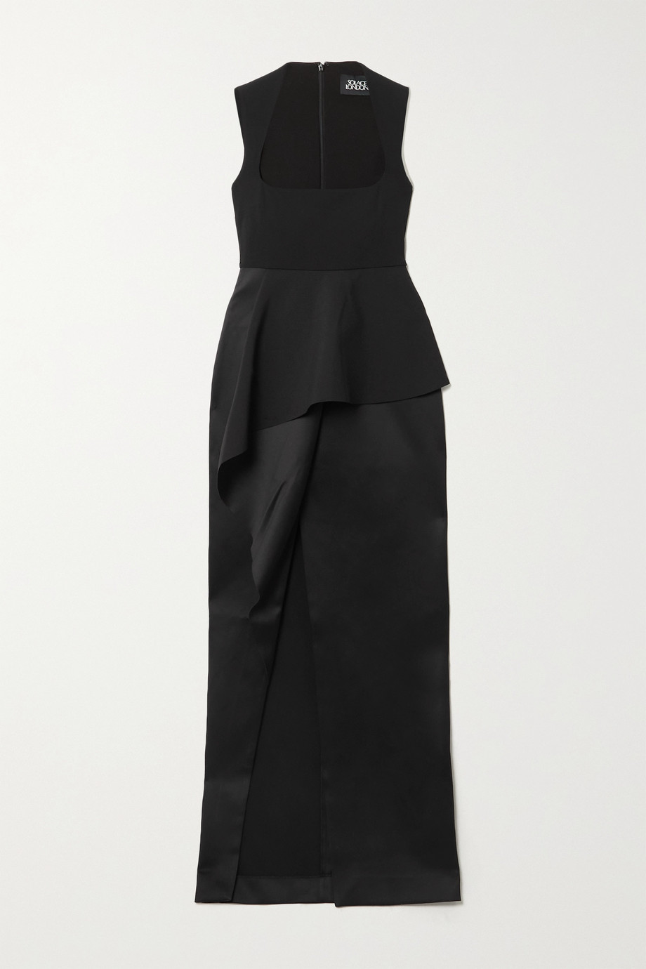 Solace London Ally layered stretch-crepe and satin gown