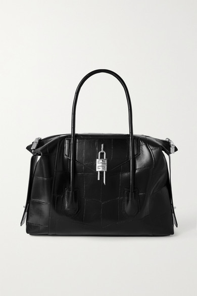 Givenchy Leathers ANTIGONA SOFT LOCK MEDIUM CROC-EFFECT LEATHER TOTE