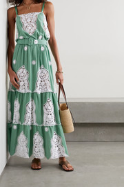 Miguelina Fatema belted crochet-trimmed cotton maxi dress