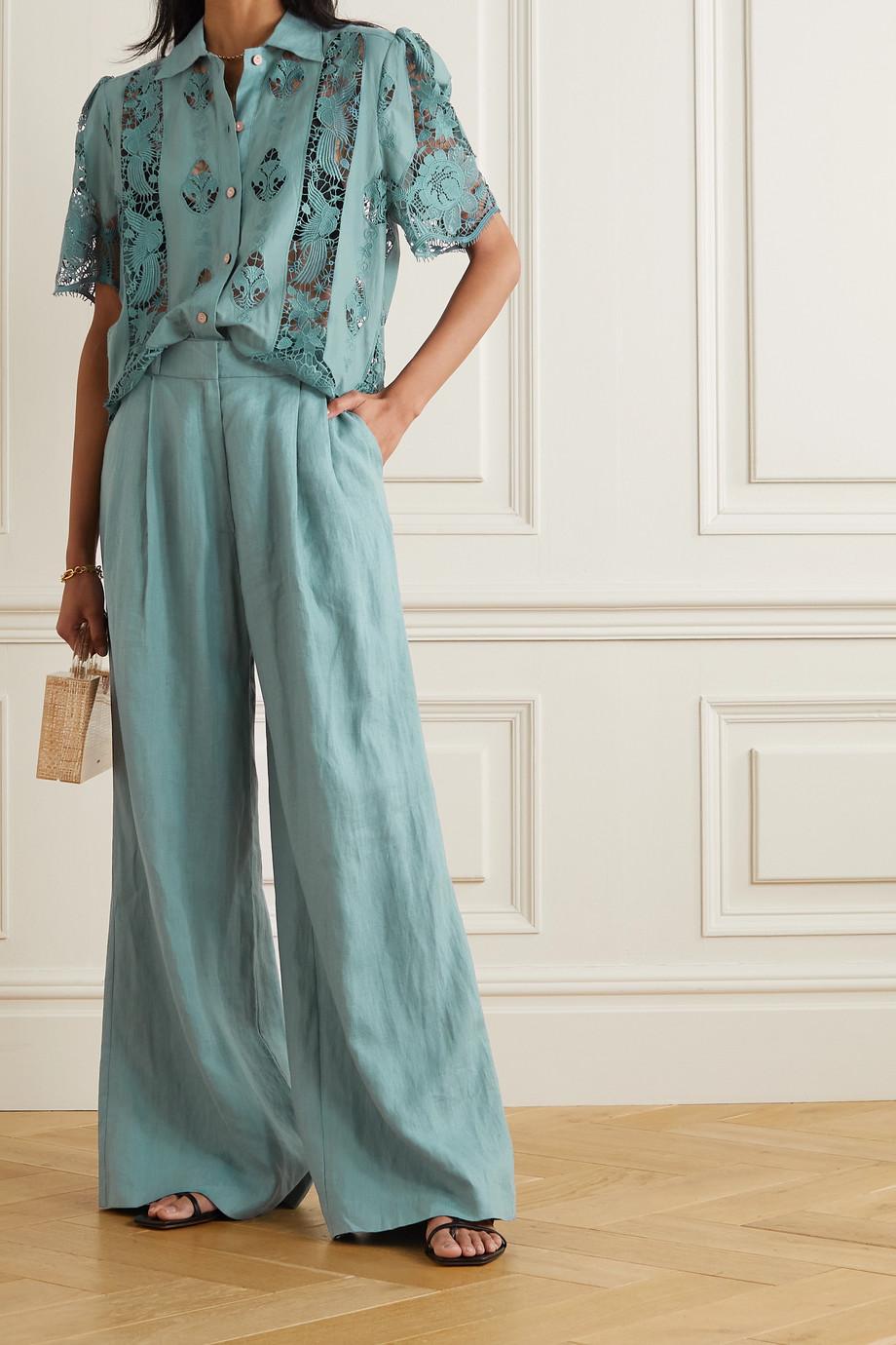 Miguelina Constance guipure lace-paneled cotton shirt
