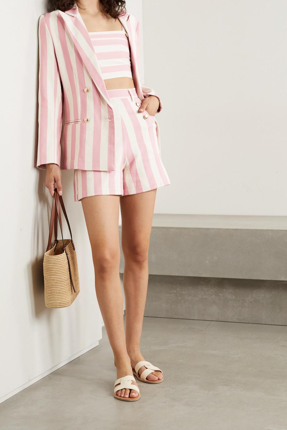 Miguelina Chiara double-breasted striped cotton-twill blazer