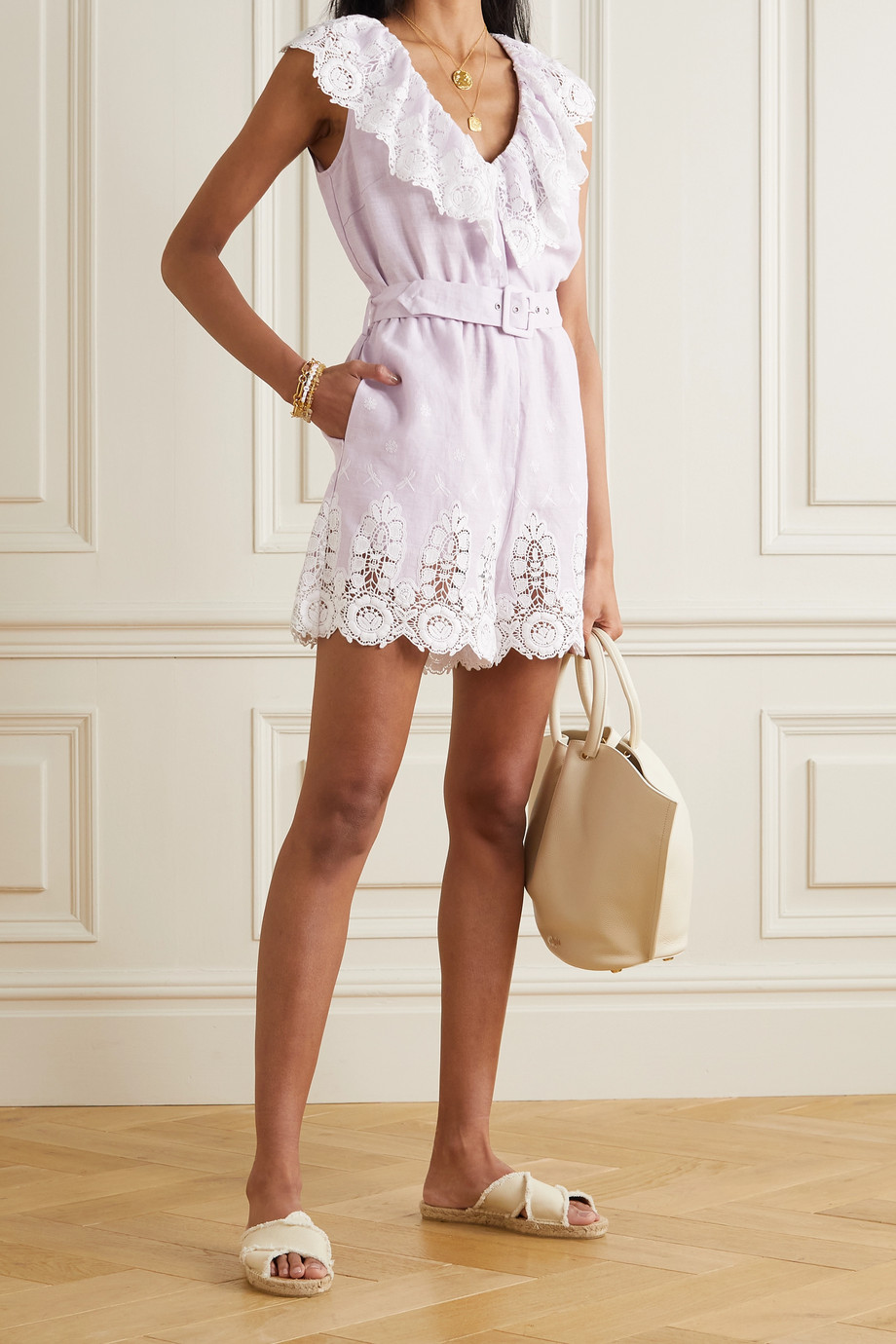 Miguelina Charli belted crocheted cotton and linen playsuit