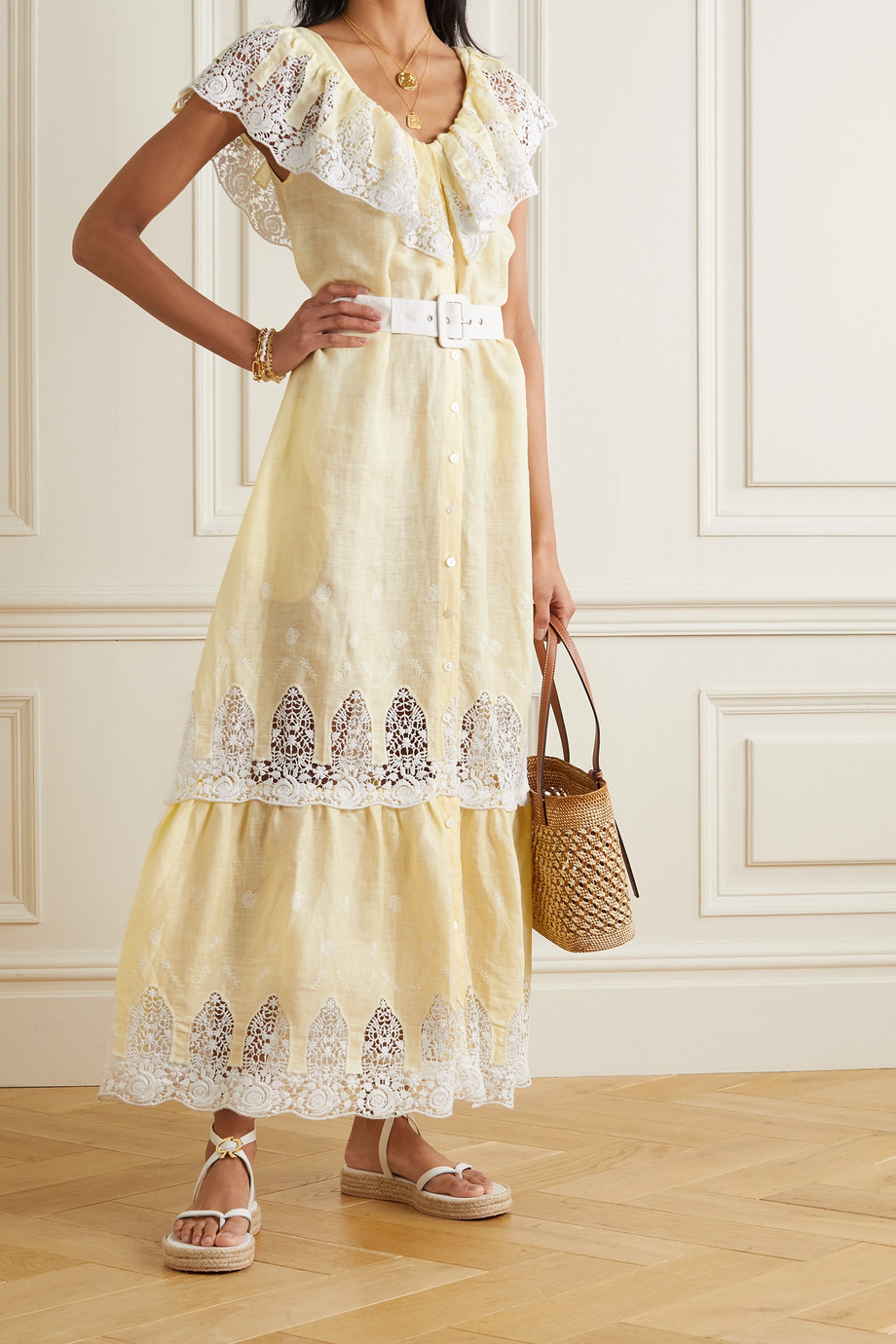 Miguelina Thalia belted crocheted cotton and linen maxi dress