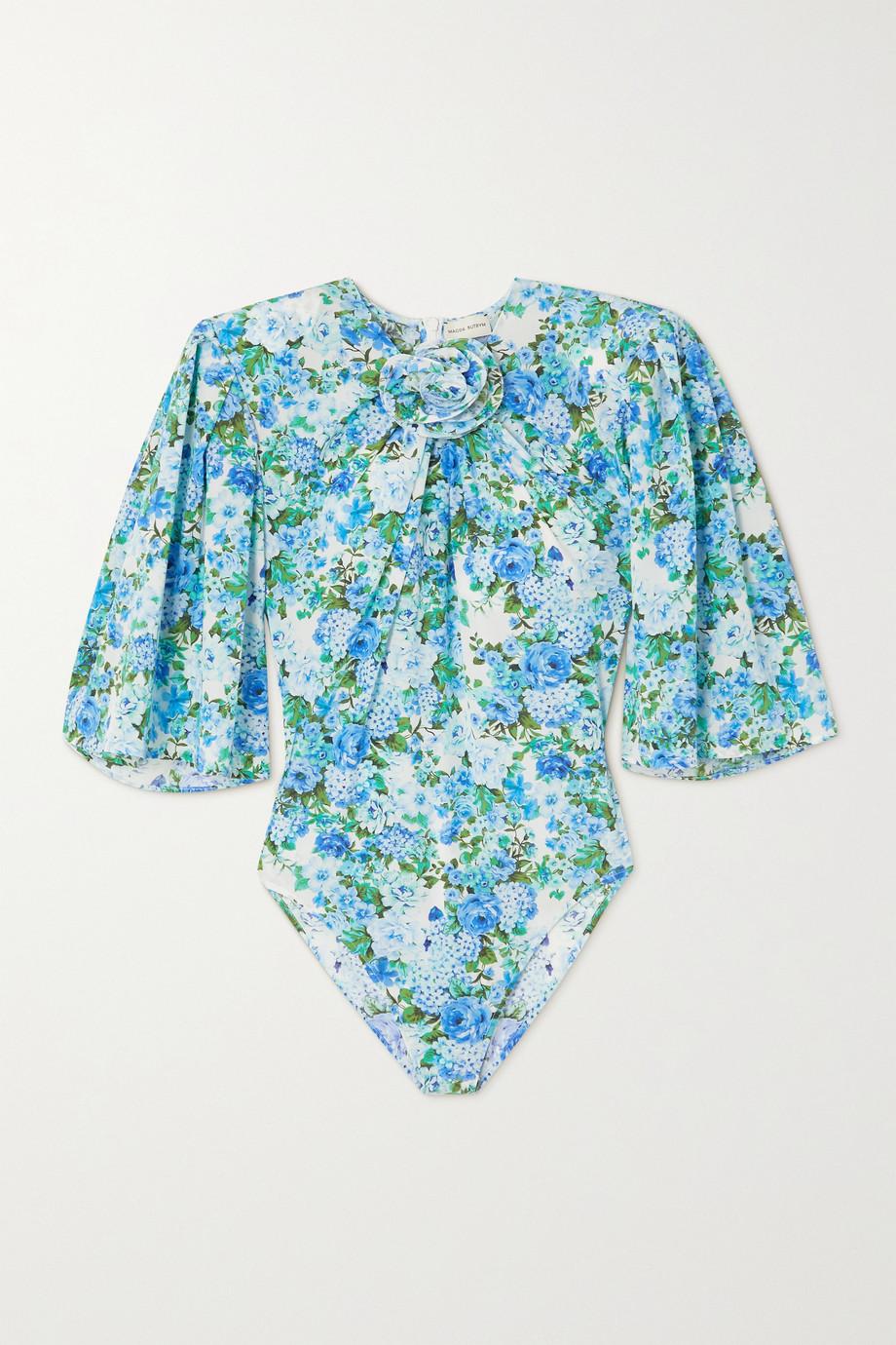 Magda Butrym Floral-print gathered stretch-silk bodysuit