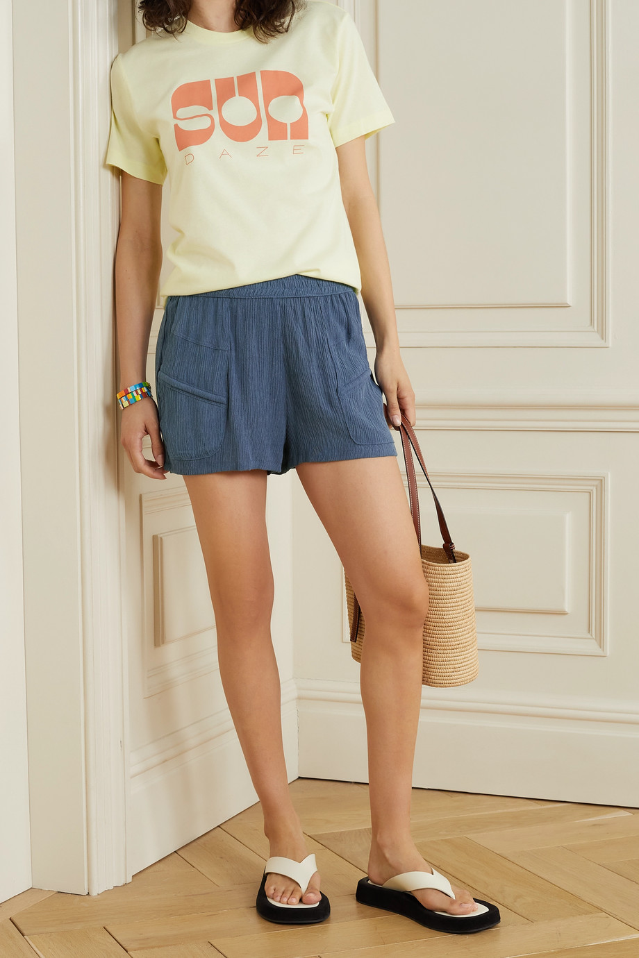 Paradised + NET SUSTAIN Prim crinkled woven shorts