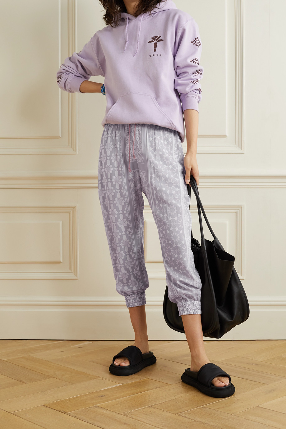 Paradised + NET SUSTAIN cropped printed voile track pants
