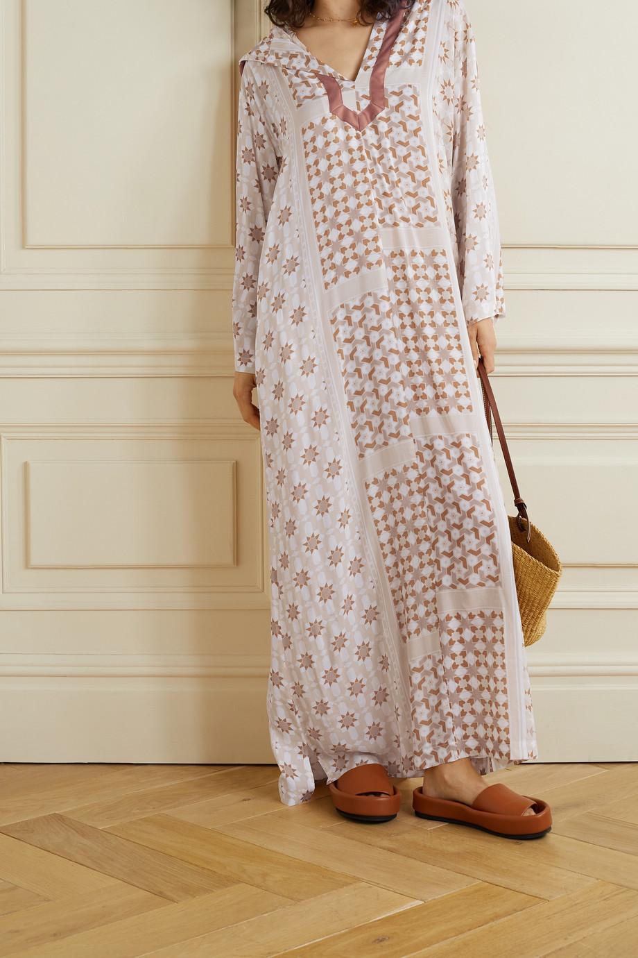 Paradised + NET SUSTAIN Tangier hooded printed voile kaftan