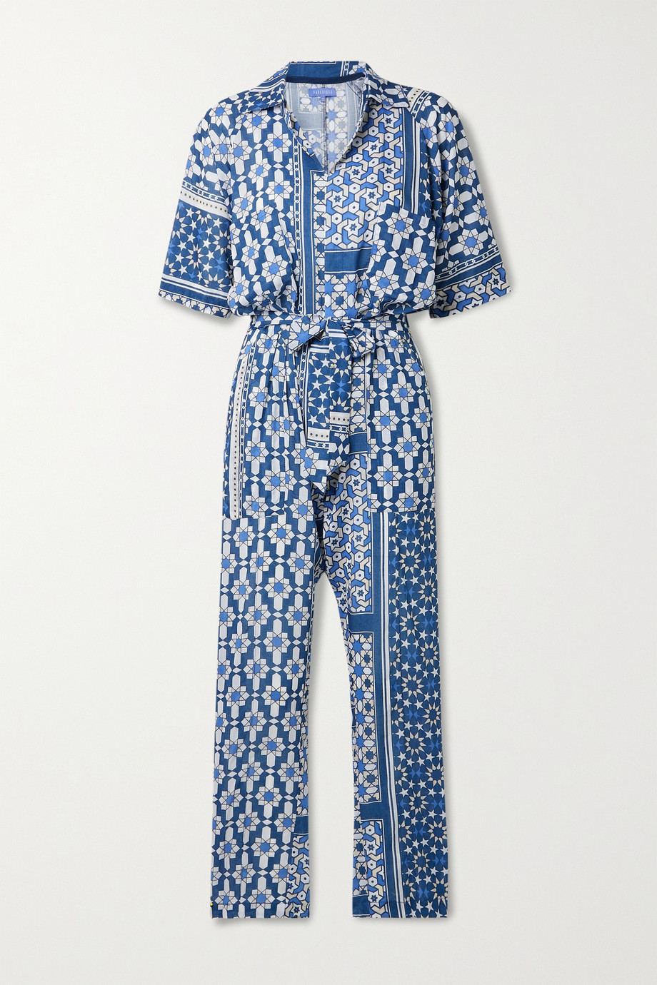 Paradised + NET SUSTAIN Apres belted printed voile jumpsuit