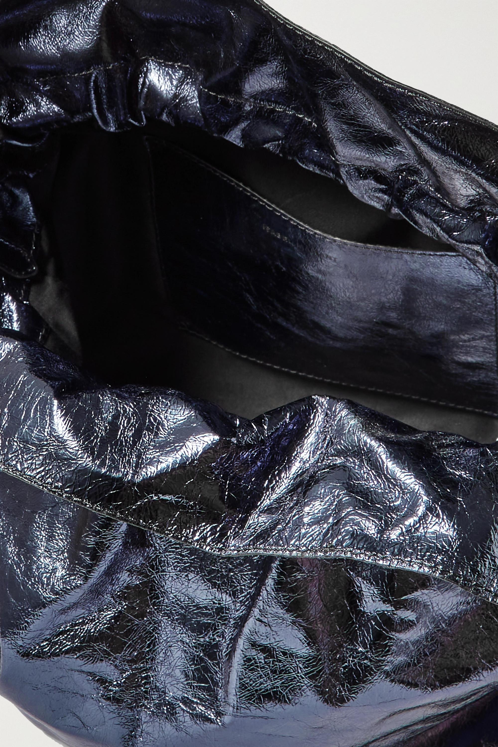 Isabel Marant Sac porté épaule en cuir froissé métallisé Ailey