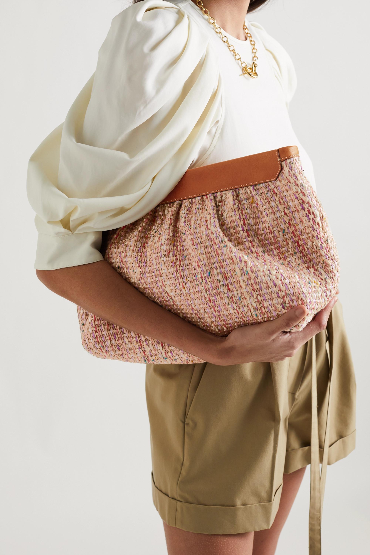 Isabel Marant Luz Clutch aus Tweed mit Lederbesatz