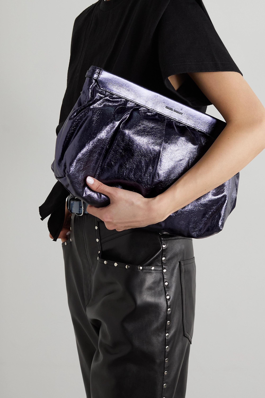 Isabel Marant Luz metallic crinkled-leather clutch