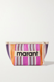 Isabel Marant Powden canvas-trimmed striped woven clutch