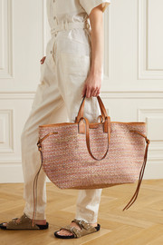 Isabel Marant Wydra leather-trimmed straw tote