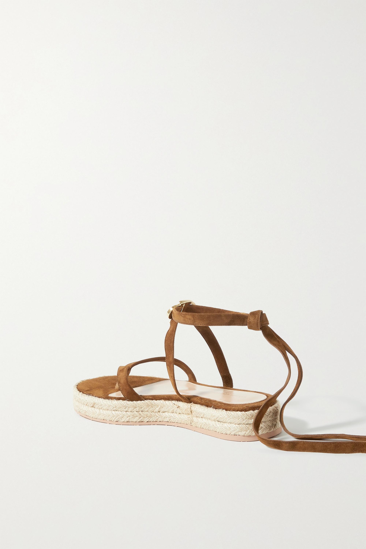 Gianvito Rossi Ribbon Beachclub 20 Espadrille-Sandalen aus Veloursleder
